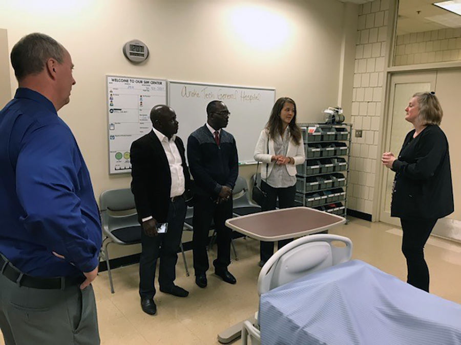 Minnesota Representative Abigail Whelan, Federal Republic of Nigeria Representative Dr. Henry Archibong, and Pastor of New Life Church Dr. Mfon Archibong joined Anoka Technical College President Kent Hanson for a tour of the college October 18.